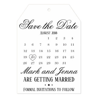 Customizable Save the Date Tag Card