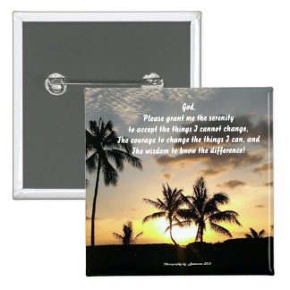Customizable- Serenity Prayer, Sunset in Paradise 2 Inch Square Button