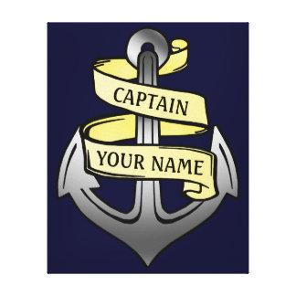 Customizable Ship Captain Your Name Anchor Canvas Print