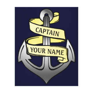 Customizable Ship Captain Your Name Anchor Gallery Wrapped Canvas