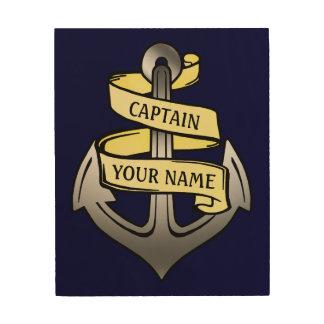 Customizable Ship Captain Your Name Anchor Wood Canvas