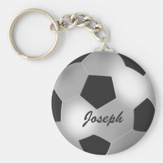 Customizable Silver Soccer Ball Keychain