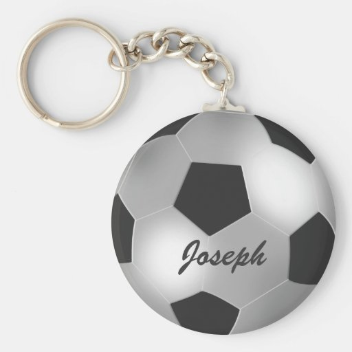 Customizable Silver Soccer Ball keychains