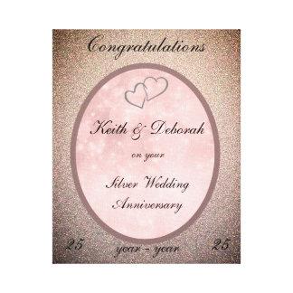 Customizable Silver Wedding Anniversary Canvas Print