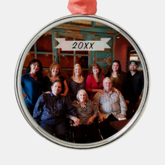 Customizable Simple Family Photo Christmas Metal Ornament