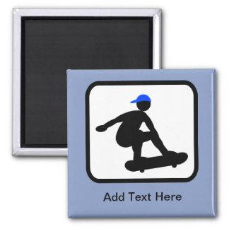 Customizable Skater on Skateboard Logo Square Magnet