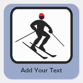 Customizable Skier Logo Square Sticker
