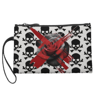 customizable skull rose mini clutch wristlet purses