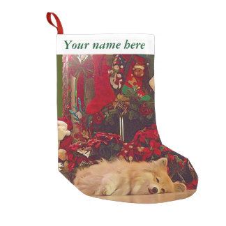 Customizable Sleepy Corgi Small Christmas Stocking