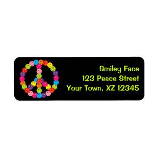 Customizable Smiley Peace Return Address Label