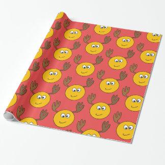 Customizable Smiling Reindeer Emoji Wrapping Paper