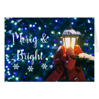 Customizable Snow Covered Lantern Holiday Card