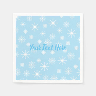 Customizable Snowflakes Paper Napkins with Text
