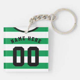 Customizable Soccer Jersey Keyring, Green Stripes Key Ring