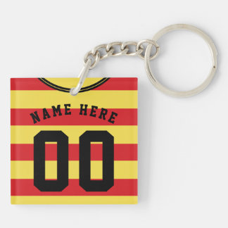 Customizable Soccer Jersey Keyring, Red Stripes Key Ring