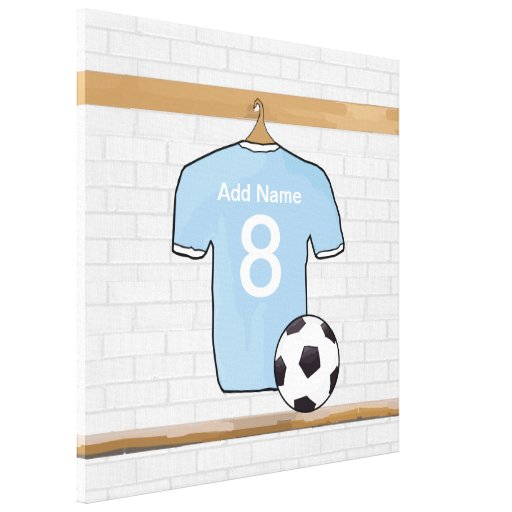 Customizable Soccer Shirt  Sky Blue Wrapped Canvas Stretched Canvas Print