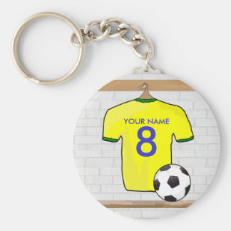 Customizable Soocer Jersey yellow Keychain