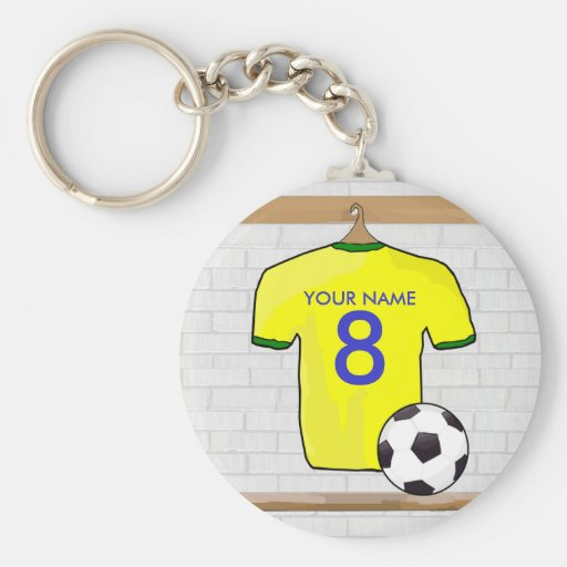 Customizable Soocer Jersey (yellow) Keychain