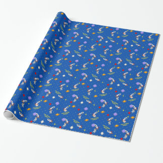 Customizable Space Walk Astronaut and Rocketship Wrapping Paper