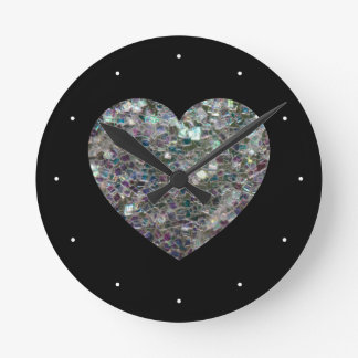 Customizable Sparkly colourful silver mosaic Heart Round Clock