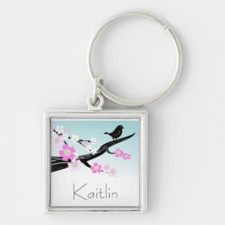 Customizable sparrow bird cherry blossoms graphic key ring