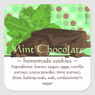 Customizable Square Mint Chocolate Stickers
