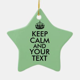 Customizable Star Keep Calm Ornament Message Color