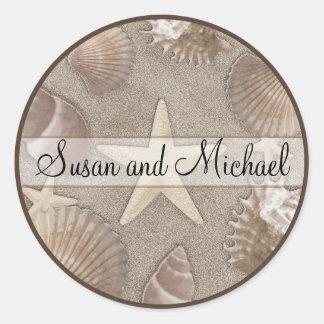 Customizable Starfish Wedding Stickers