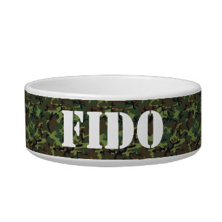 Customizable Stencil Name on Camouflage Pattern Bowl