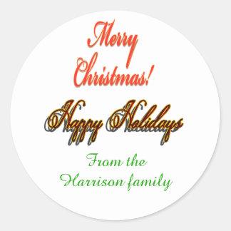 Customizable Sticker Christmas Happy Holidays