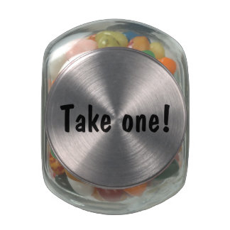 "Customizable ""Take One!"" Glass Candy Jar"