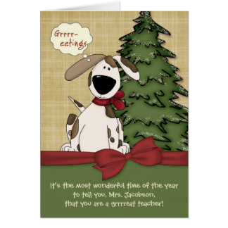 Customizable Teacher's Name Christmas Doggy Card