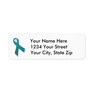 Customizable Teal Cancer Ribbon Address Label
