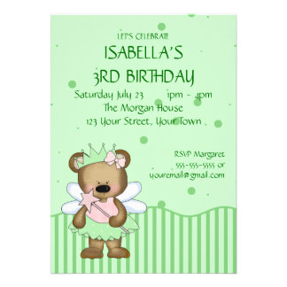 Customizable Teddy Bear Green Fairy Princess Personalized Announcement