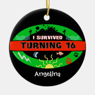 Customizable Text Featuring I Survived Turning 16 Double-Sided Ceramic Round Christmas Ornament