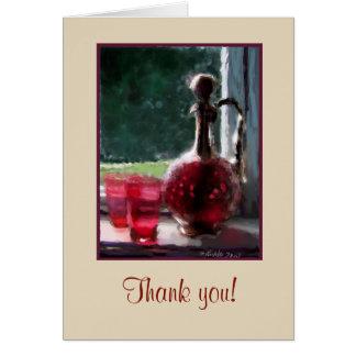 Customizable Thank you card, Cranberry glass Card