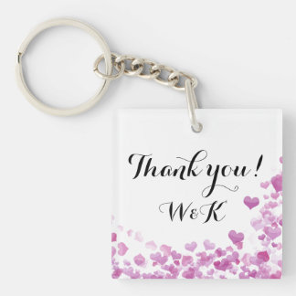 Customizable thank you key chain wedding favour