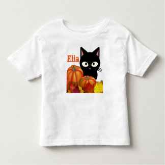 Customizable Toddler Halloween Black Cat T-Shirt