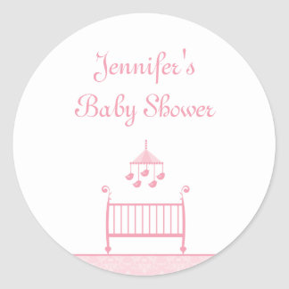 Customizable trendy chic pink baby shower stickers