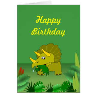 Customizable Triceratops Dinosaur Happy Birthday Card