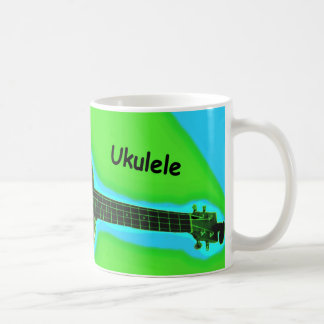 Customizable Ukulele Coffee Mug #1: Green on lime