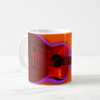Customizable Ukulele Coffee Mug #4; Red on Pumpkin