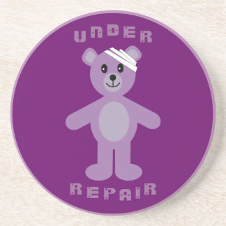 Customizable Under Repair Recovery Teddy Bear Beverage Coasters