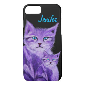 Customizable unique purple cat with blue eyes iPhone 7 case
