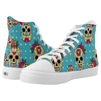 customizable unisex sugar skull lace ups printed shoes