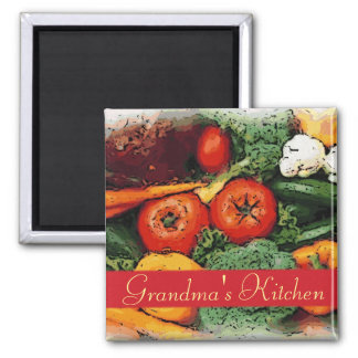 Customizable vegetable art kitchen magnet
