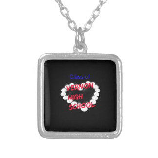 Customizable Vernon High School Candle Heart Silver Plated Necklace
