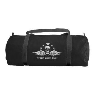 Customizable Vintage Biker Skull and Wings Gym Duffel Bag