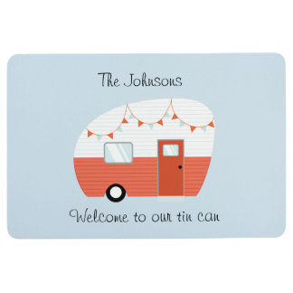 Customizable Vintage Camper Trailer Welcome Mat