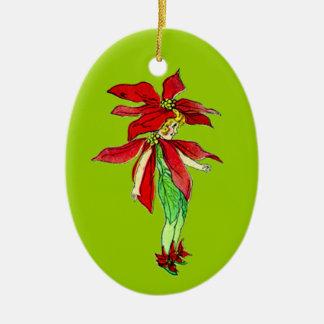 Customizable Vintage Christmas Pixie Ceramic Oval Decoration